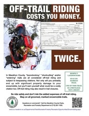 Marathon County Snowmobile Trail Off-trail awareness poster