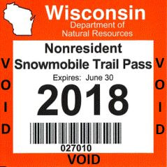 Wisconsin Snowmobile Trail Pass - 2017-2018 season - Nonresident Pass